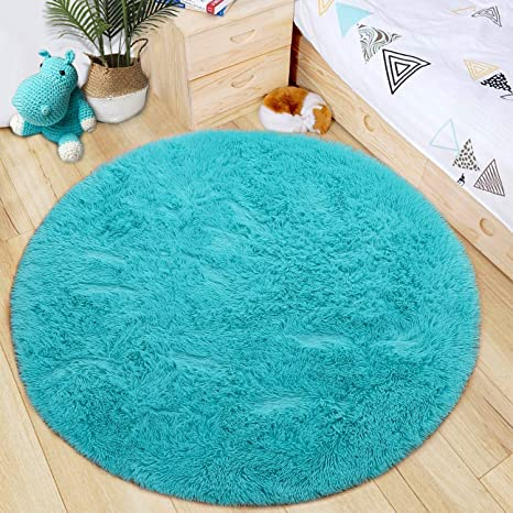 Blue LOCHAS Luxury Round Fluffy Area Rugs for Kids Bedroom Super Soft Living Room Home Shaggy Carpet 4-Feet