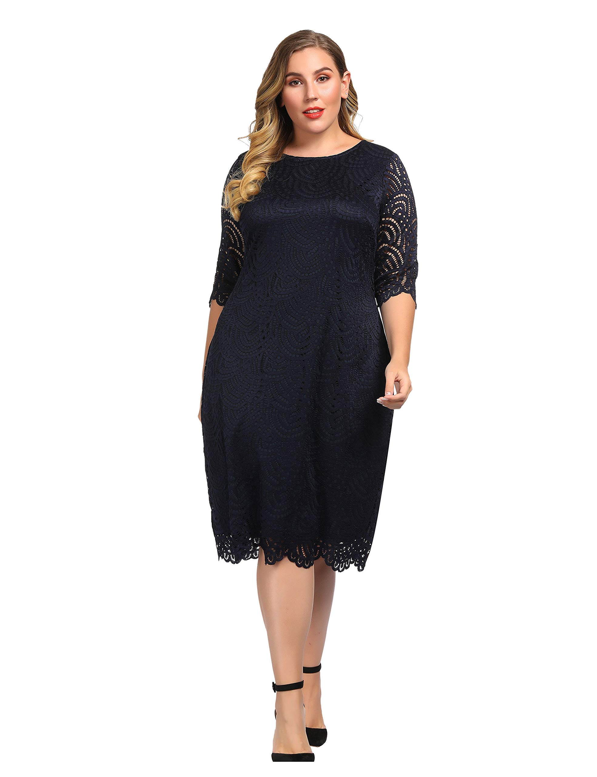 Chicwe Women\'s Lined Stretch Lace Plus Size Shift Dress with Scalloped Hem  and Cuff Navy 3X