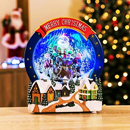christow led snowing christmas santa scene electric musical snowglobe ornament - Snowing Christmas Decoration