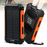 Solar Charger, Levin 10000mAh Solar Power Bank Dual USB Ports Solar Panel Portable Charger Rainproof Multiple Security Protection for iPhone, iPad, iPod, Cell Phone, Tablet, Camera (Orange)