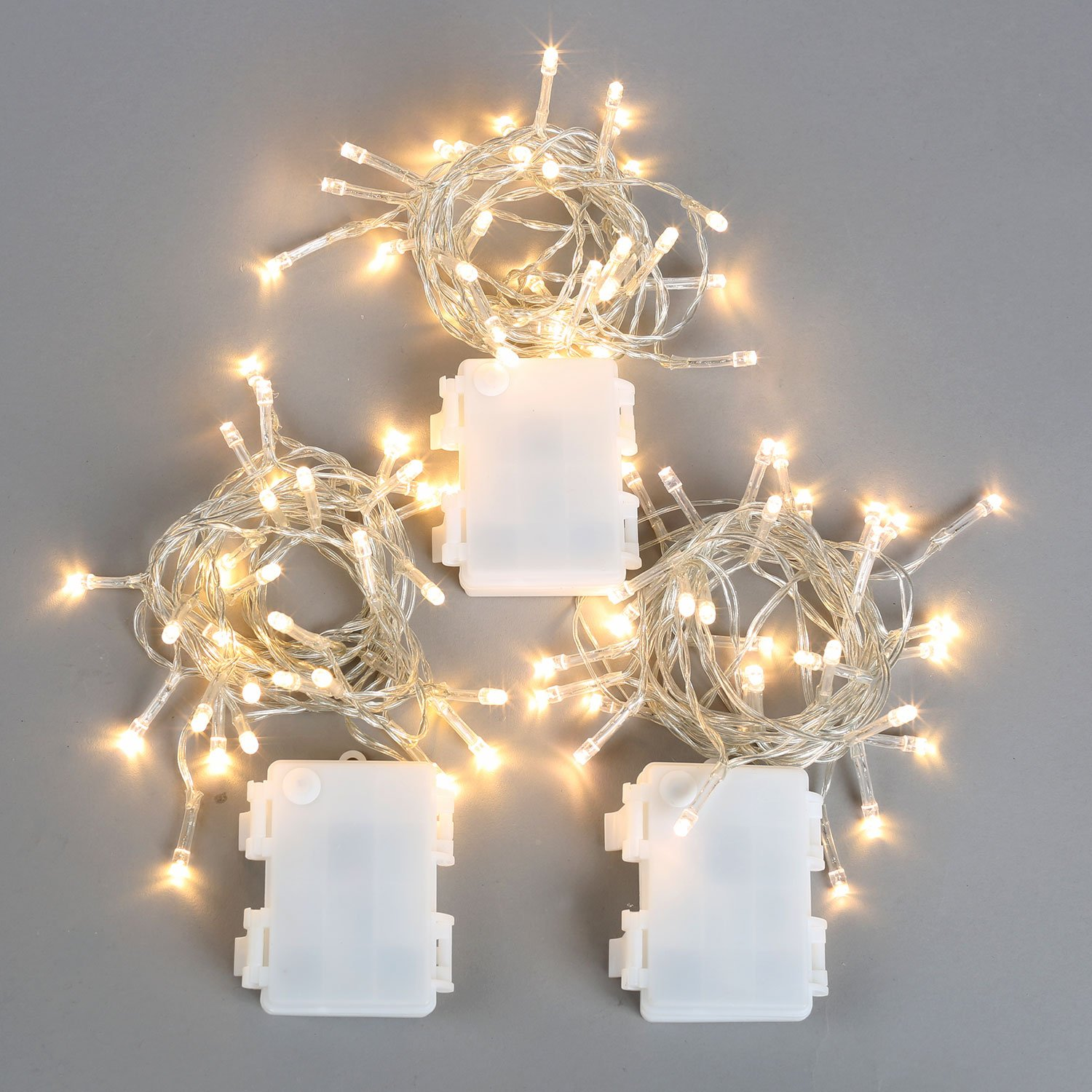 3 Pack Battery String Lights, 30 Warm White LEDs, 11 Ft. Strands, Batteries Included, Value Set by LampLust (Image #5)