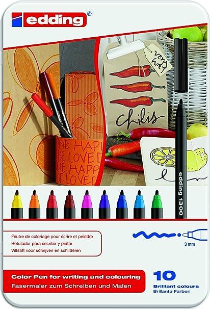 edding 1300-10S - Estuche de metal con 10 rotuladores multicolor: Amazon.es: Oficina y papelería
