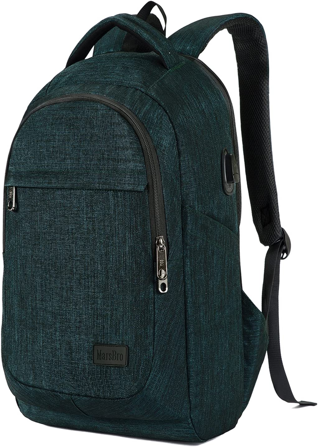 MarsBro Laptop Backpack, Business Travel Gear with USB Charging Port College Water Resistant Anti Theft 15.6 Inch Bag Malachite Green