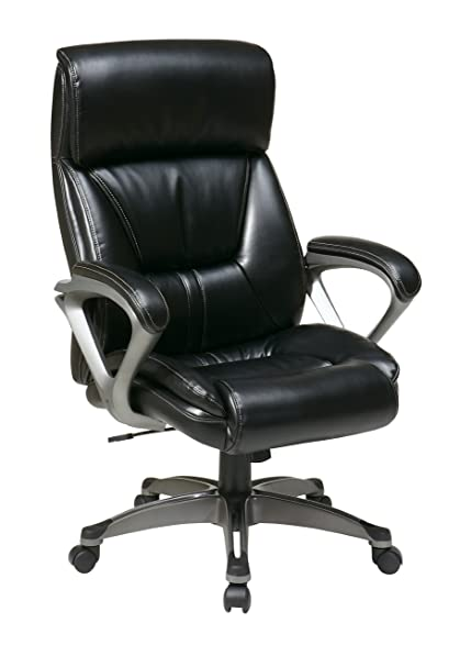 Office Star Executive Eco Leather Chair With Coil Spring Seat, Padded Arms,  And Silver