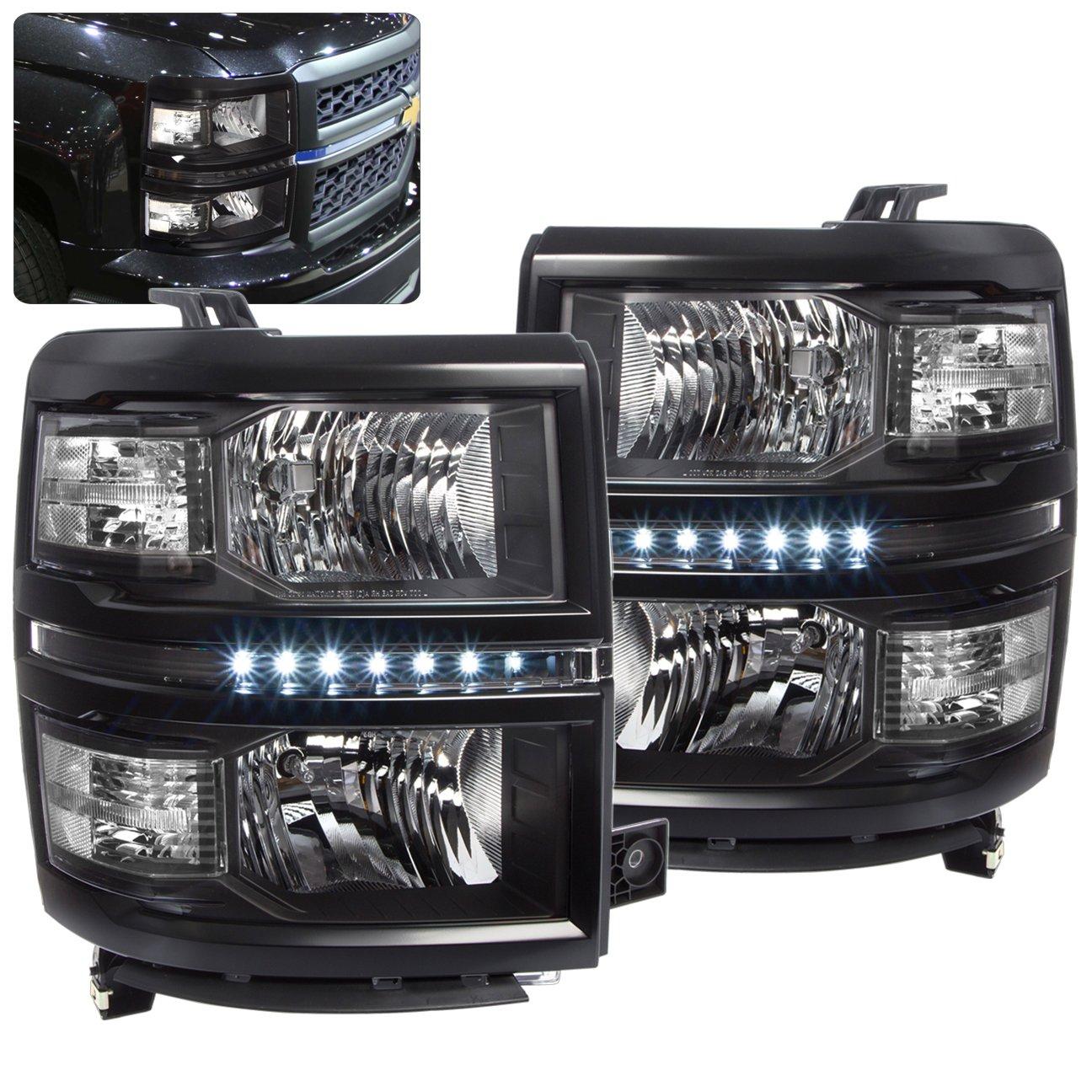 Chevy Silverado 1500 Black Housing Led Headlights Lamp 77 Headlight Wiring Harness Clear Corner Turn Signal Reflectors Automotive