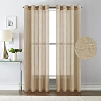 PrimePros Natural Linen and Poly Mixed Soft Semi Sheer Curtain Panels for Living Room / Nickel Grommet Window Treatments Drapes ( W132 x L213CM,Set of 2,Taupe)