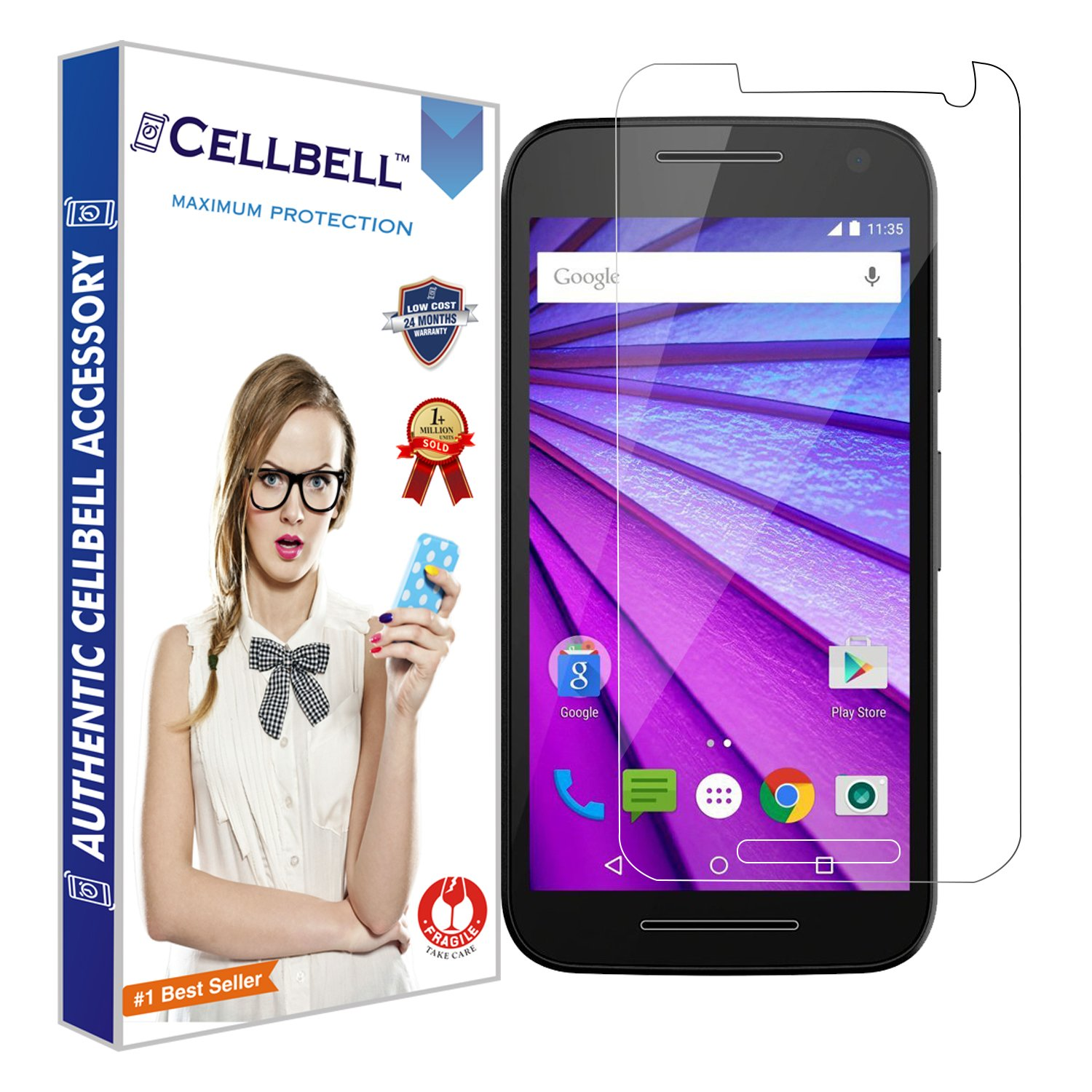 52bfda08d1b2 CELLBELL Premium Tempered Glass for Moto G3 3rd Gen with Prep Cloth  (Clear)  Amazon.in  Electronics