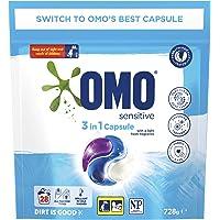 Omo Laundry Liquid Triple Capsules, 3 in 1 Capsule, Sensitive 28 Pack