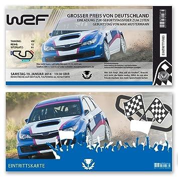100 X Einladungskarten Geburtstag Auto Rennfahrer Rallye Ticket