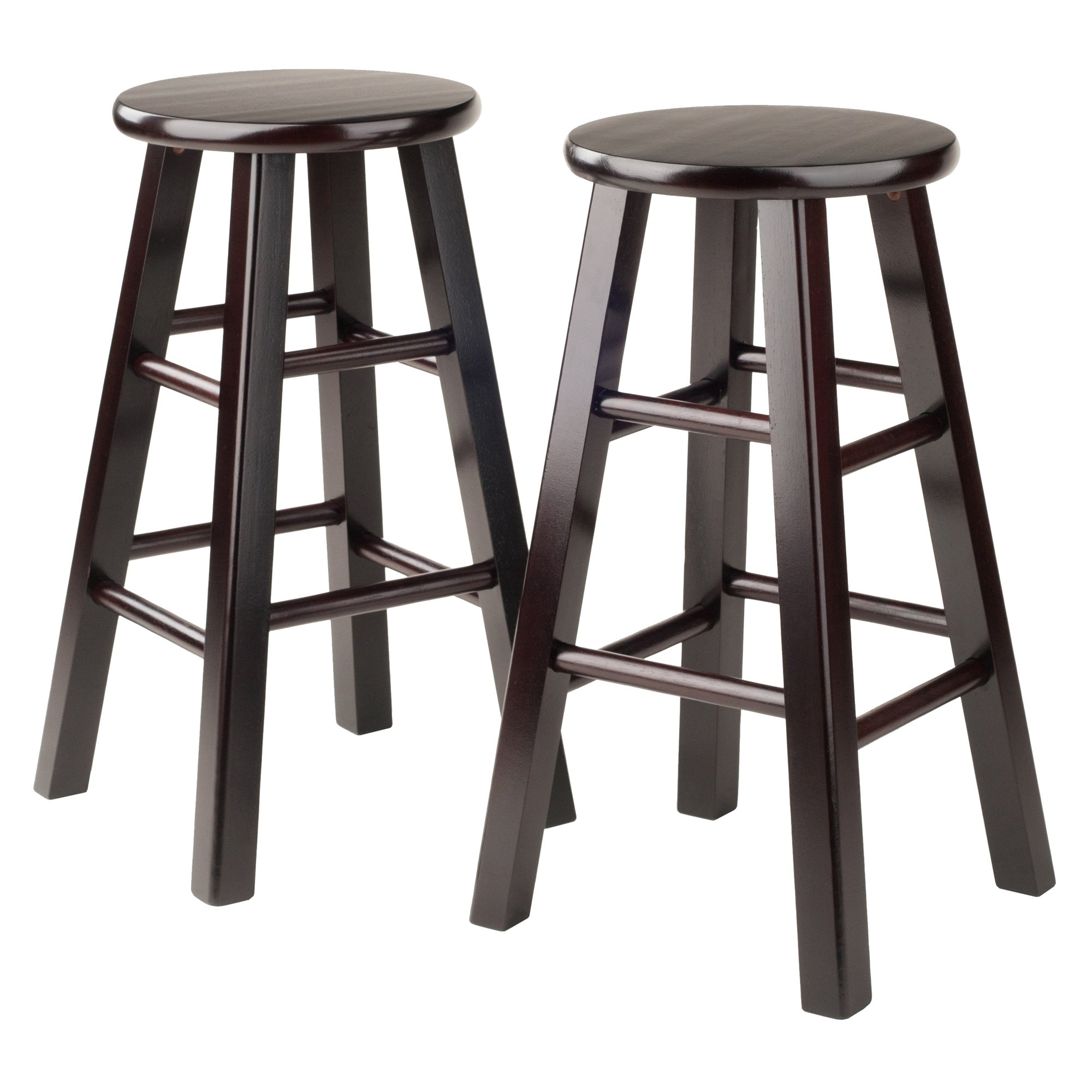 Winsome Counter Stool with Square Legs, 24-Inch, Espresso, Set of 2