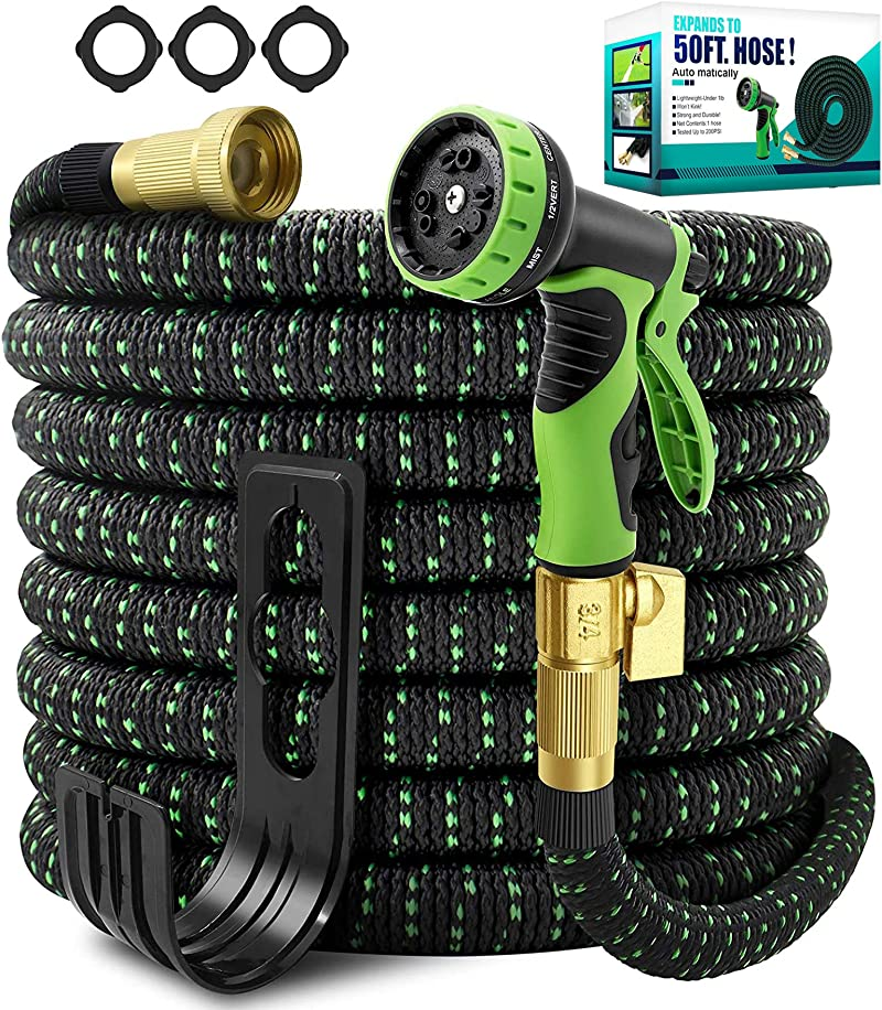 TIKUTKU Expandable Garden Hose 50ft,Lightweight Flexible 50 ft Water Hose,with 10 Function Spray Nozzle,Durable Multi-Layers Latex Core,No Leak 3/4 inch Solid Brass Fittings,No Kink & Heavy Duty Hoses
