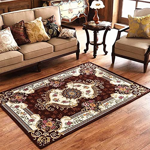 LISIBOOO Oriental Traditional Floral Area Rugs, Thick Soft Non Slip Large Carpet, for Living Room Dining Room Bedroom Sitting Room Entryway Hallway Doorway 5 2 x7 6 , Coffee