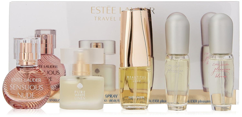 Estee Lauder Travel Exclusive for Women-5 Pc Gift Set Sensuous Nude, Pleasures, Pleasures Bloom, Pure White Linen-4ml Each; Beautiful Love-4.7ml ELY96R