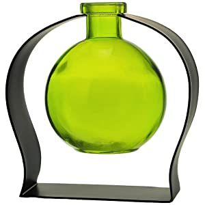 "Couronne Company M244-200-01 Ball Recycled Glass Vase & Arched Metal Stand, 5 3/4"", Lime, 1 Piece"
