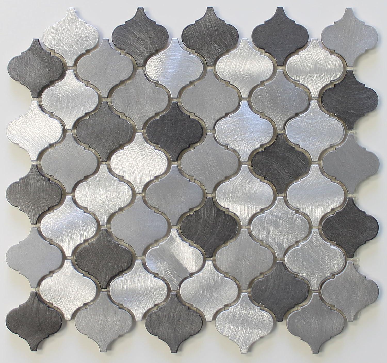 10 square feet uptown aluminum metal arabesque mosaic tiles 10 square feet uptown aluminum metal arabesque mosaic tiles amazon dailygadgetfo Gallery