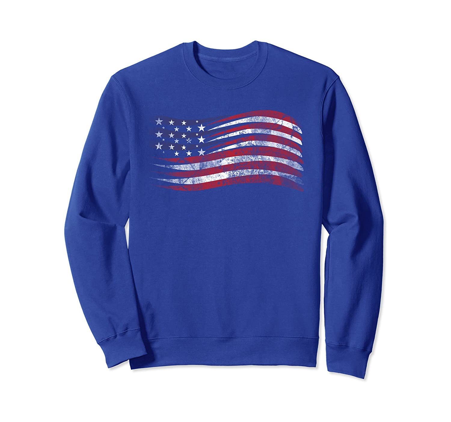 American Flag 4th of July Day USA Distressed Sweatshirt-AZP
