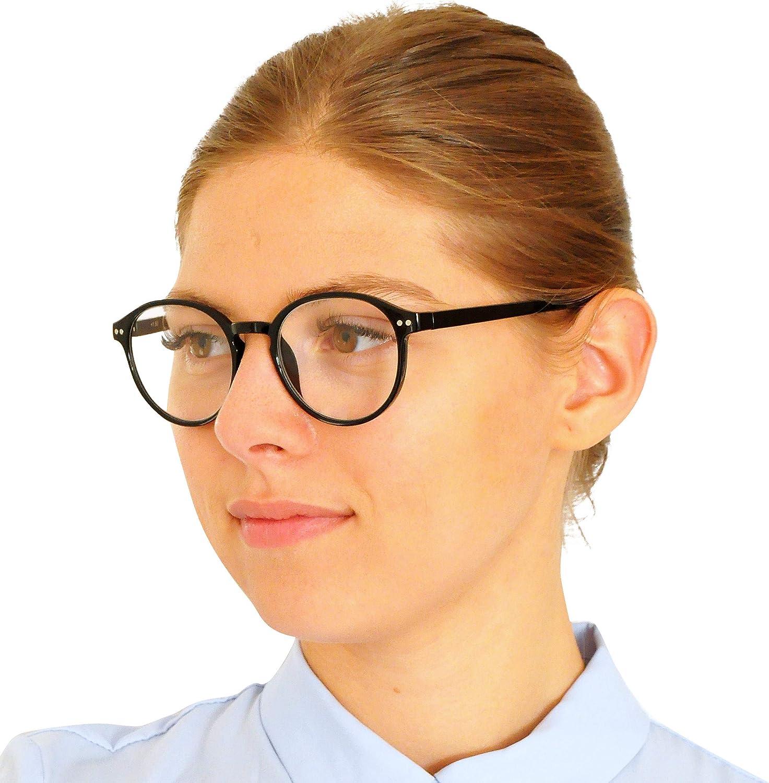 Custodia INCLUSA Occhiali Vintage Donna e Uomo Diottrie +1.0 Blu Occhiali da Lettura con Grandi Lenti Tonde Montatura in Plastica stile Classico da Nerd