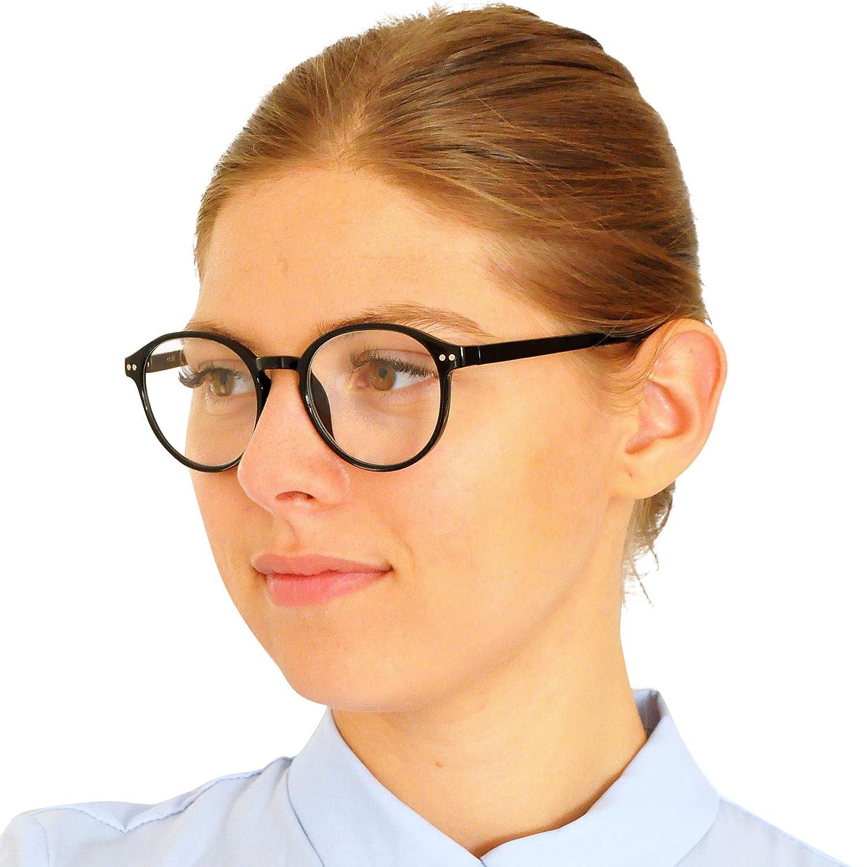 per Uomo e Donna Diottrie +2.5 stile Classico da Nerd MiniBrille Occhiali da Lettura Pin con Grandi Lenti Tonde Custodia INCLUSA Blu Montatura in Plastica