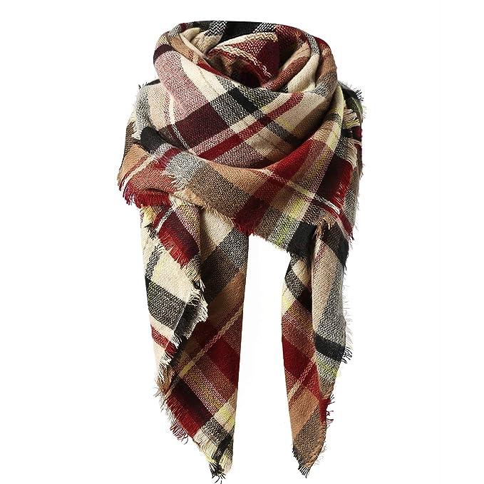 250b1aee04a Zando Thick Plaid Blanket Scarf Big Fall Scarves Shawl Soft Warm ...