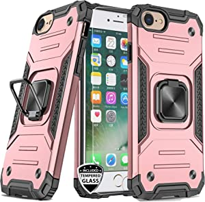 REEJAX iPhone SE 2020 Case,iPhone 7 Case,iPhone 8 Case with Screen Protector,Heavy Duty Rugged Cover with Magnetic Ring Kickstand,Protective Phone Case for iPhone 7/8/SE 2020 Rose Gold