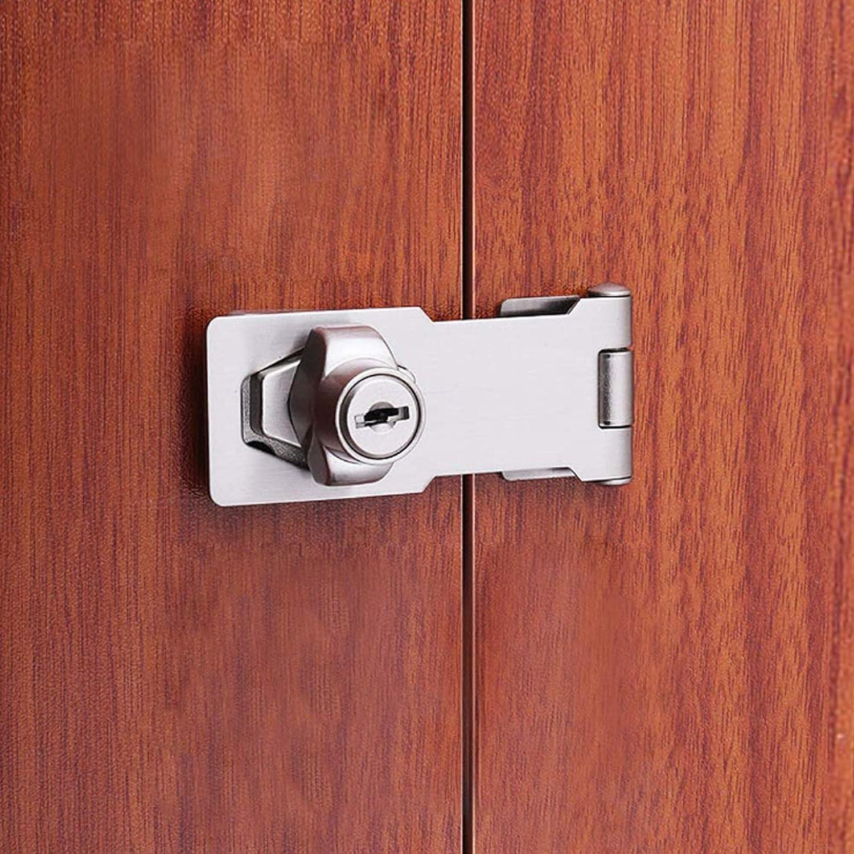 2 St/ück Vorh/ängeschloss Heftklammer Sicherheits Haspe T/ürverschluss Tor Verschluss Verriegelung Keyed Hasp Lock Metall Keyed Locking Hasp mit Schl/üssel f/ür T/üren Schr/änke