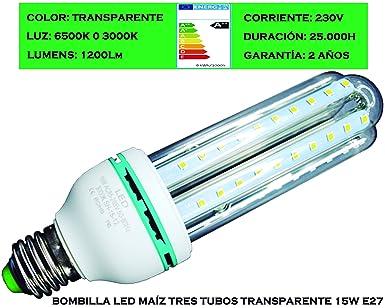 Tubombiled - Bombilla LED Maíz Tres Tubos Transparente 15W E27 Luz Fría o Luz Cálida (