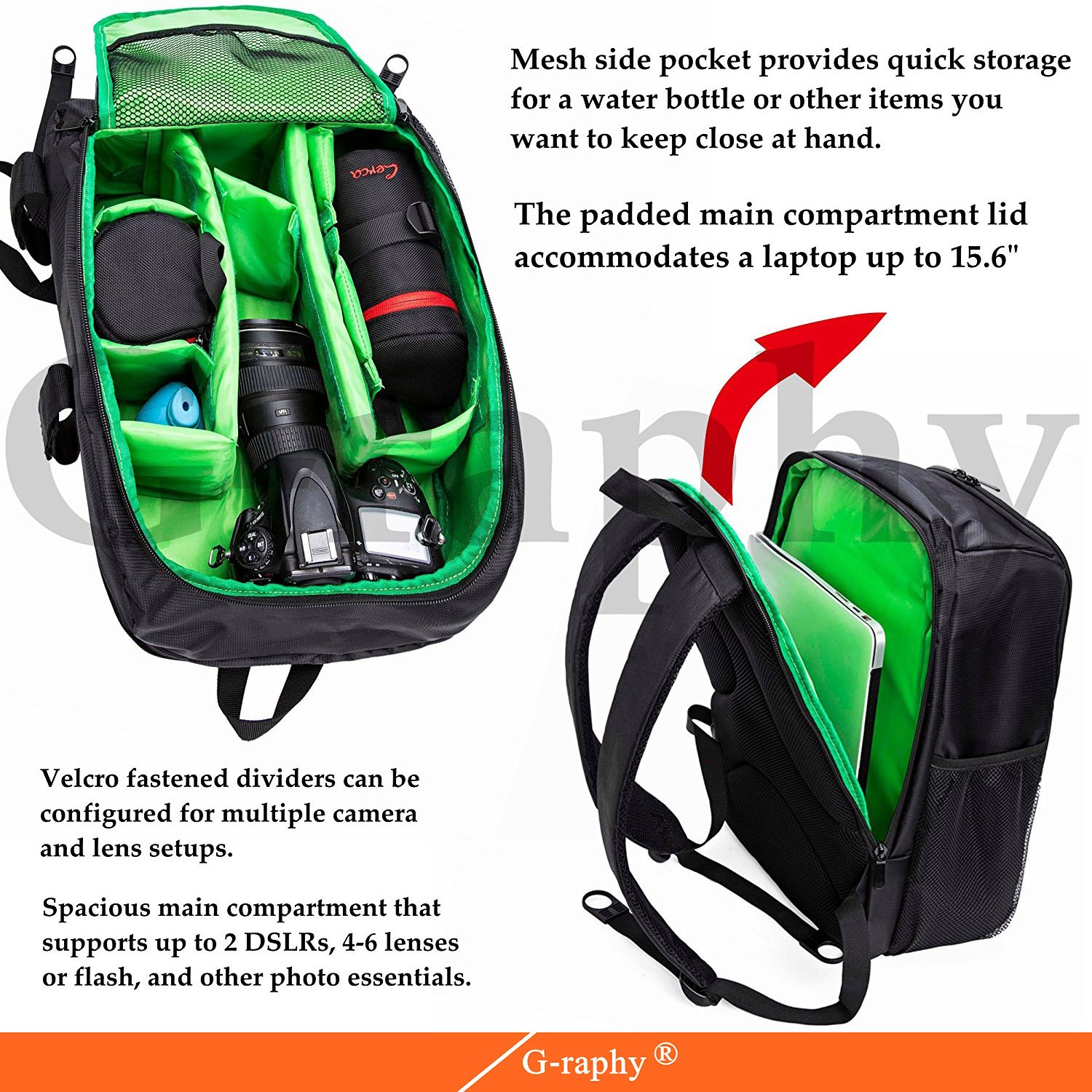 89a741ffea Amazon.com   G-raphy Camera Backpack Waterproof for DSLR SLR Cameras  (Canon