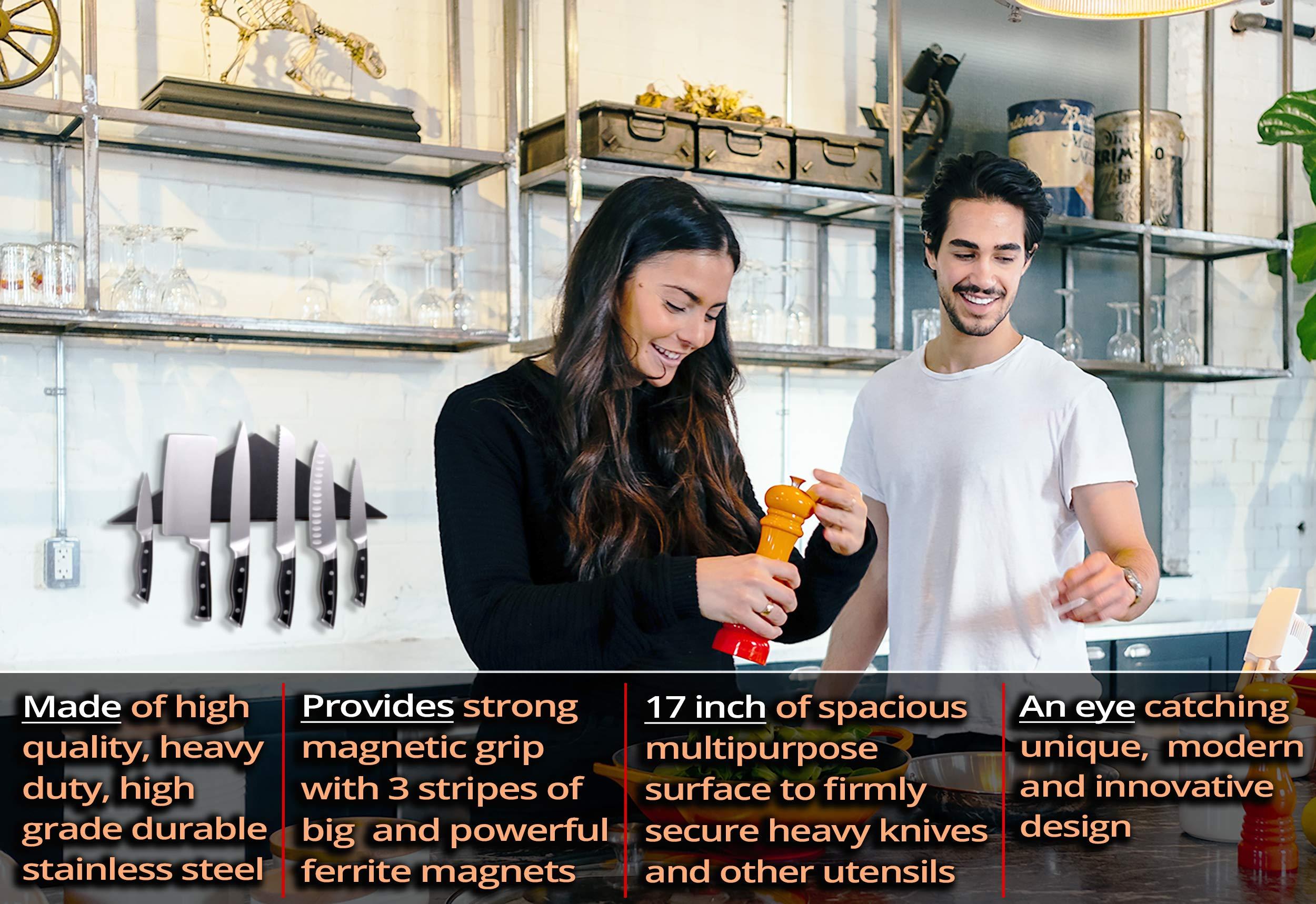 Agadda Premium Designer Stainless Steel Magnetic Knife Holder - Professional Magnetic Knife Strip/Knife Bar/Knife Rack - 17 inch (Black) by Agadda (Image #2)