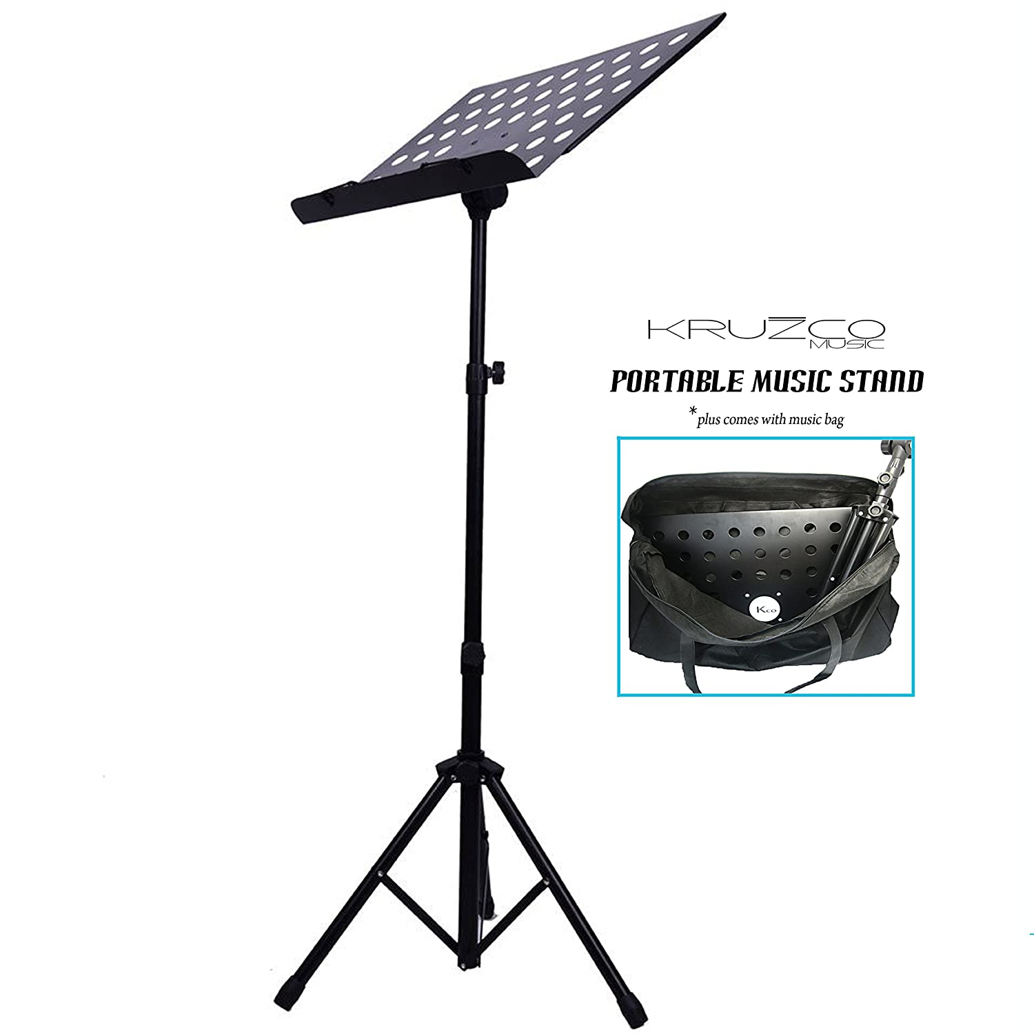 music stand for sheet music plus folding portable black with bag