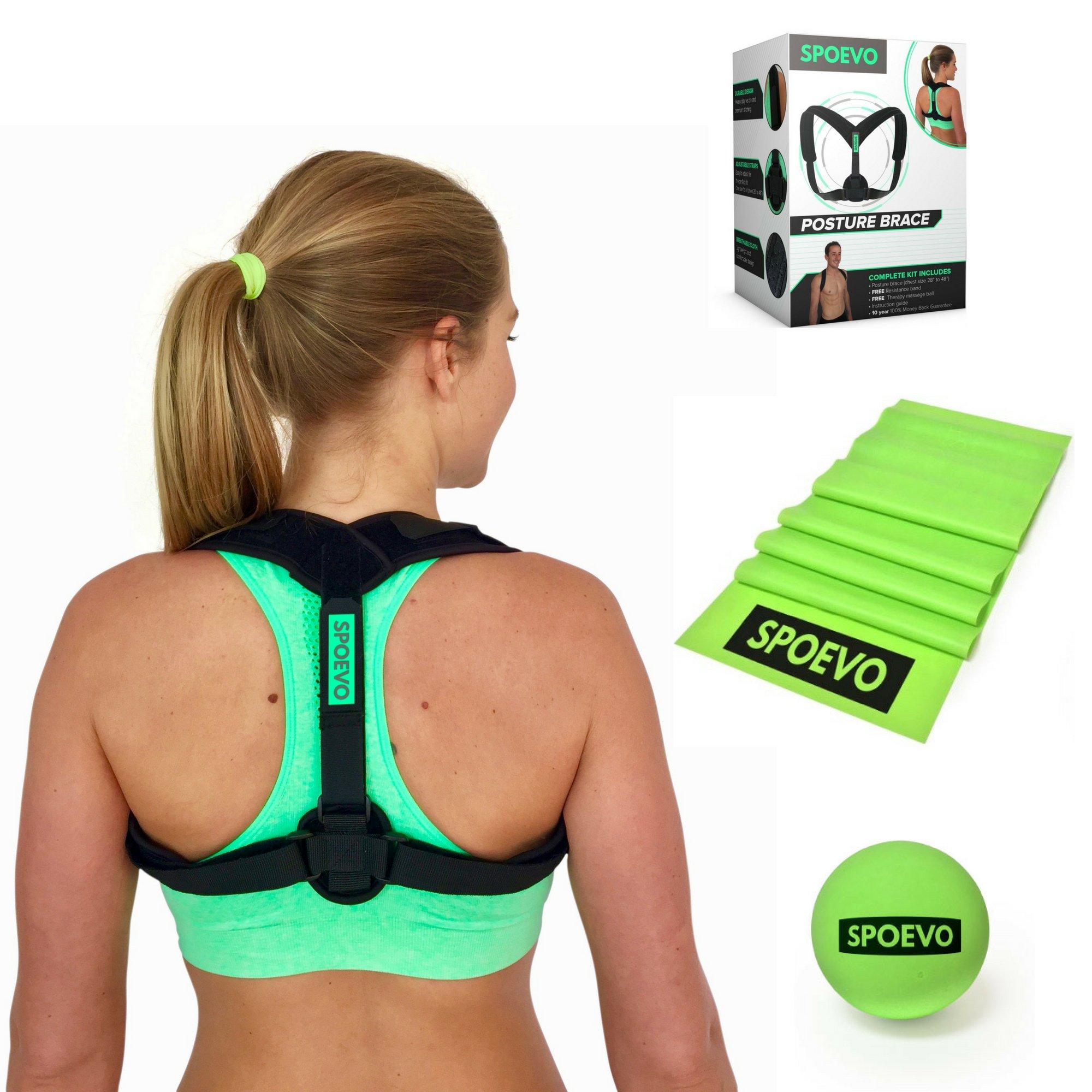 SPOEVO Back Posture Corrector For Women & Men - Includes Back Straightener Posture Brace, FREE Resistance Band & Massage Ball for Natural Spine Alignment & Posture Support