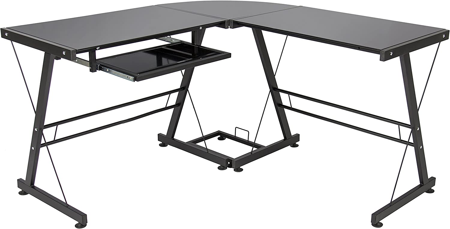 Best Choice Products L-Shape Computer Desk Workstation w/Tempered Glass Top, Tower Stand, Black