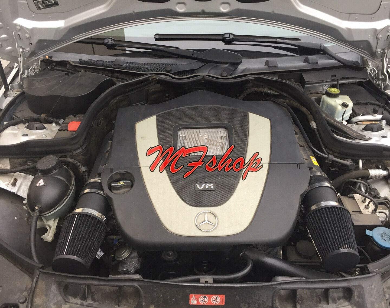 Black Coated Air Intake Filter Kit System for 2008 2009 2010 2011 2012 Mercedes Benz C300 C350 with 3.0L 3.5L V6 Engine