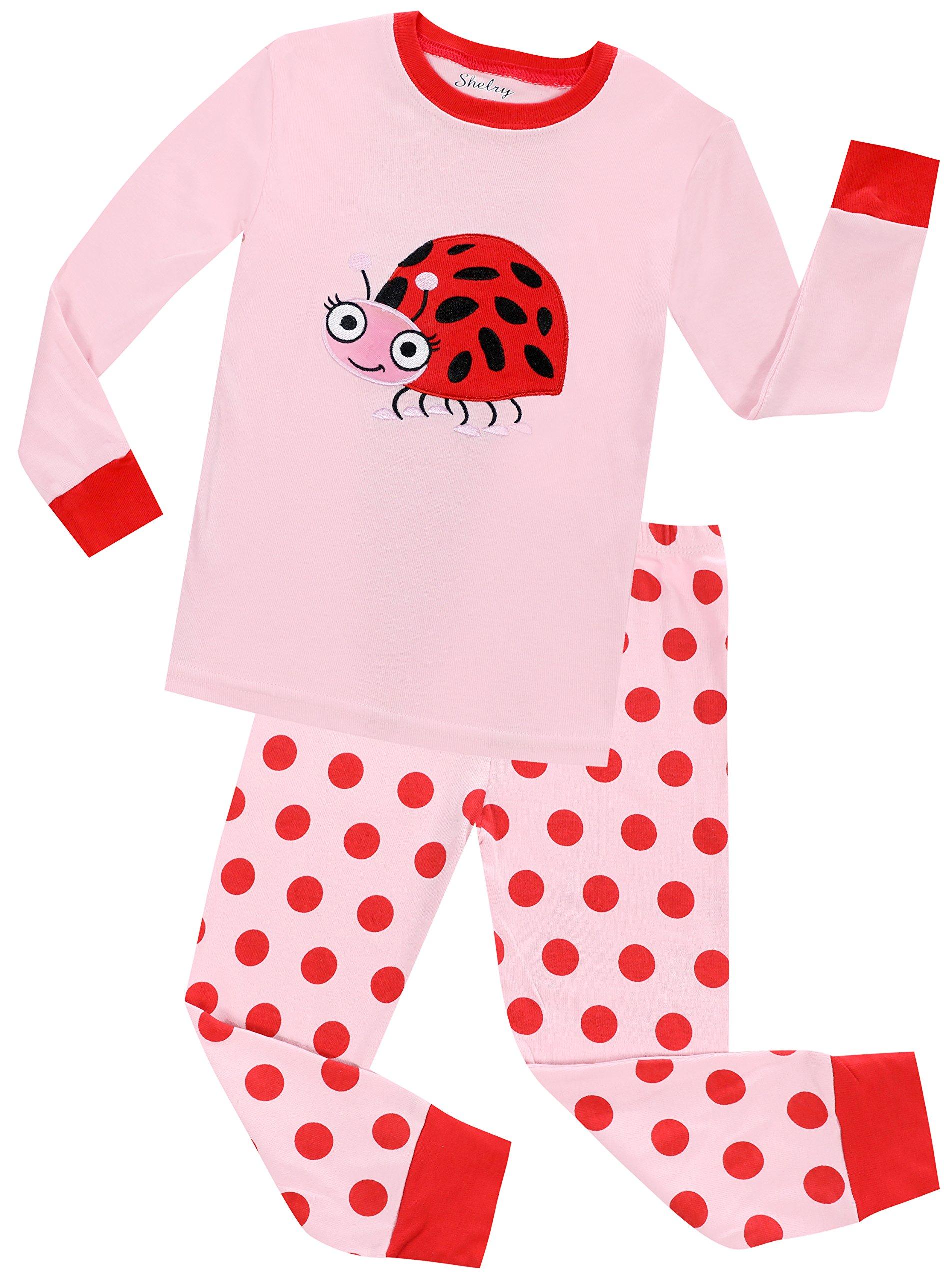 Girls Pajamas Long Sleeves Toddler Girls Beetle Pajamas Baby Girls Sleepwear Set 2Y