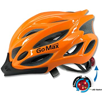 best GoMax Aero Adult Safety Helmet Adjustable Road Cycling Mountain Bike Bicycle Helmet Ultralight Inner Padding Chin Protector and Visor w/Rear LED Tail Light Adjust reviews