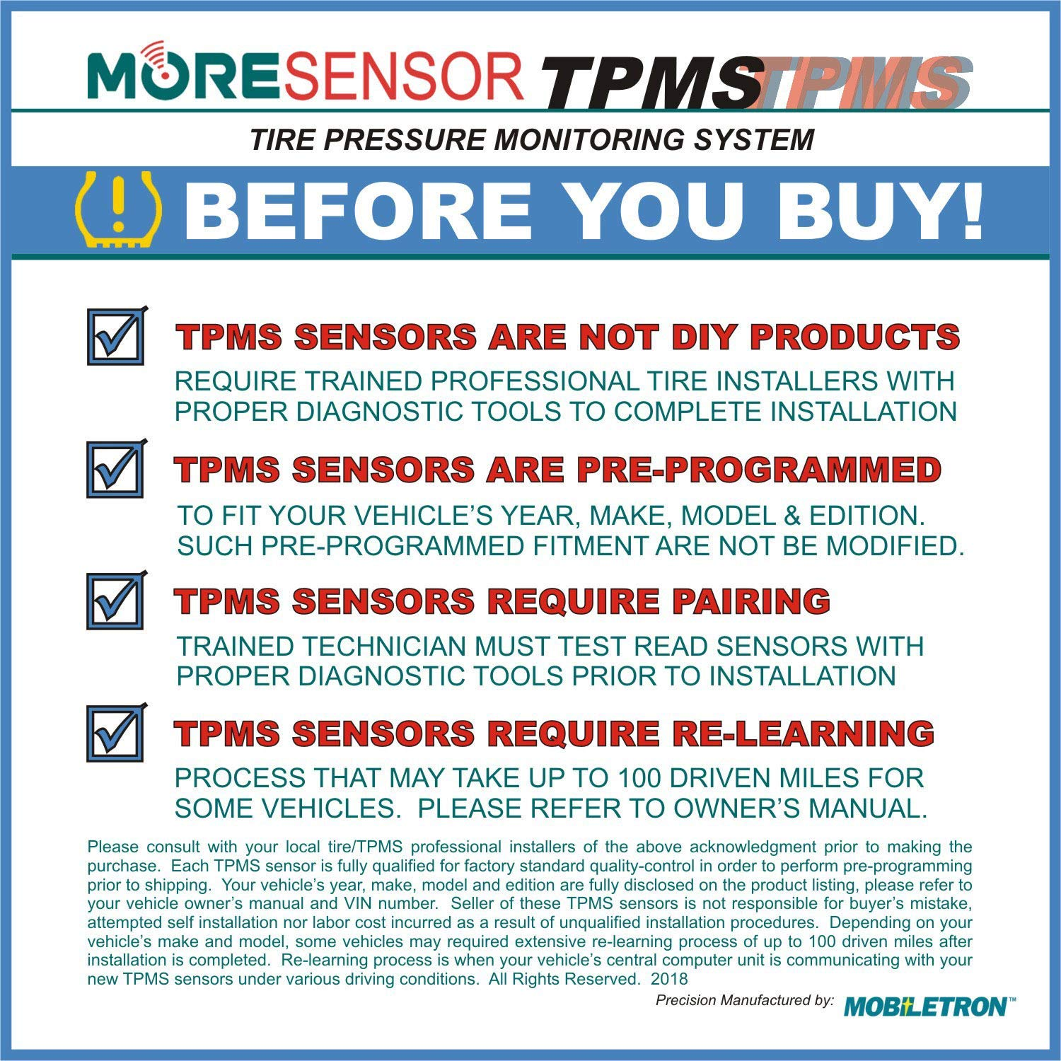 MOBILETRON MoreSensor fits 250+ Models CX-S008-4 4-Pack 315 MHz Clamp-in Direct-Fit TPMS Tire Pressure Sensor for Lexus//Scion//Toyota