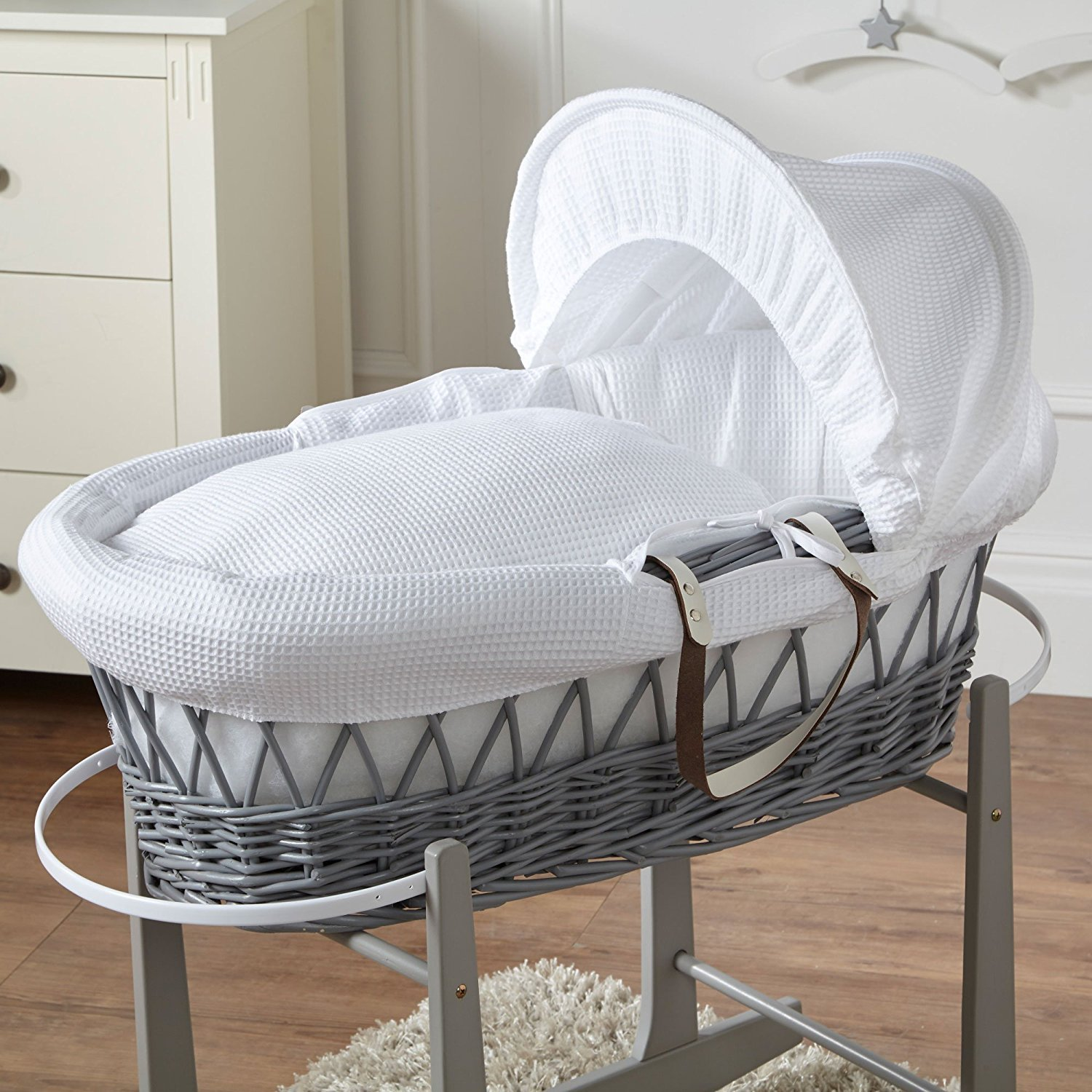 White Waffle Grey Wicker Moses Basket For-Your-Little-One Others