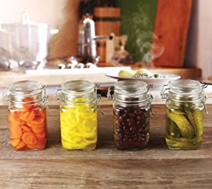 Circleware Glass Spice Jar with Swing Top Hermetic Airtight Locking Lid, Set of 4, Kitchen Food Preserving Storage Containers for Coffee, Sugar, Tea, and Himalayan Seasoning, 10 oz, Clear