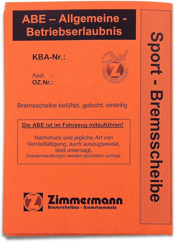 Zimmermann 100.1249.52 Disco Freno Perforato Anteriore Sport Coat Z