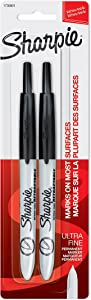 Sharpie Retractable Permanent Markers, Ultra Fine Point, Black, 2 Count