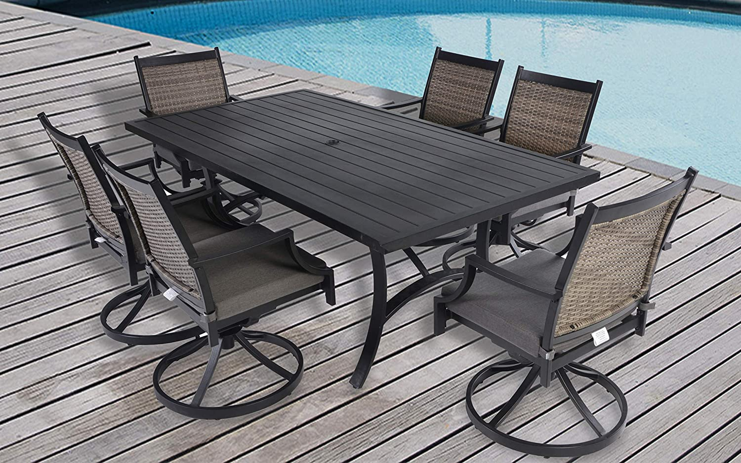 Pebble Lane Living Set of 2 Bronze Weather Resistant Powder Coated Aluminum Wicker Swivel Rocking Patio Dining Chairs with Arms and All Weather Olefin Tan Patio Cushions