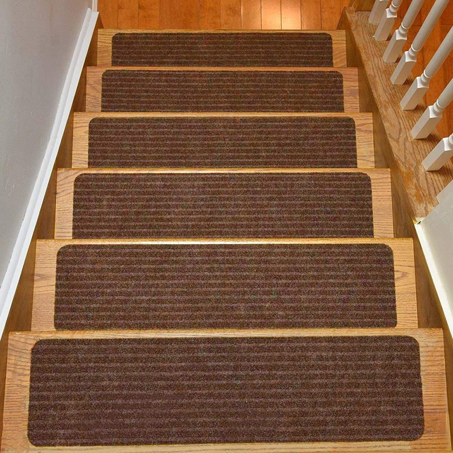 Stair Treads Collection Set of 13 Indoor Skid Slip Resistant Brown Carpet Stair Tread Treads (8 inch x 30 inch) (Brown, Set of 13) by RugStylesOnline