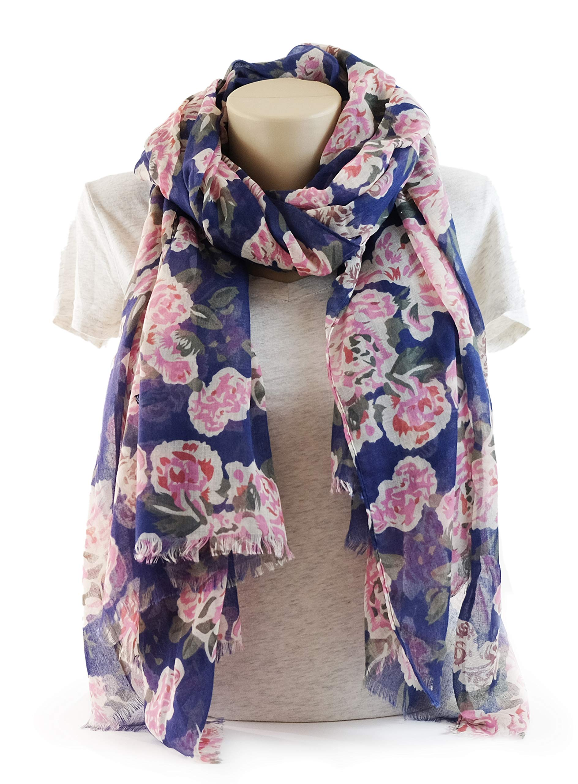 Scarves for Women: Lightweight Elegant Floral Fashion shawl by MIMOSITO (Blue-Pink Rose)
