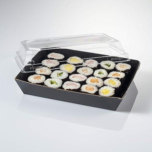 Bandeja de cartón en kraft para sushi con tapa incluida 225x155x30 ...
