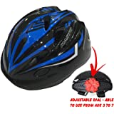 """KIDS Bike Helmet For Cycling Bicycle, Skateboard, Scooter – Adjustable Harness From Age 3 To 7 With Head Size 19.6 - 22"""" - Comfortable & Durable Kid Bicycle Helmets Boys and Girls will LOVE"""