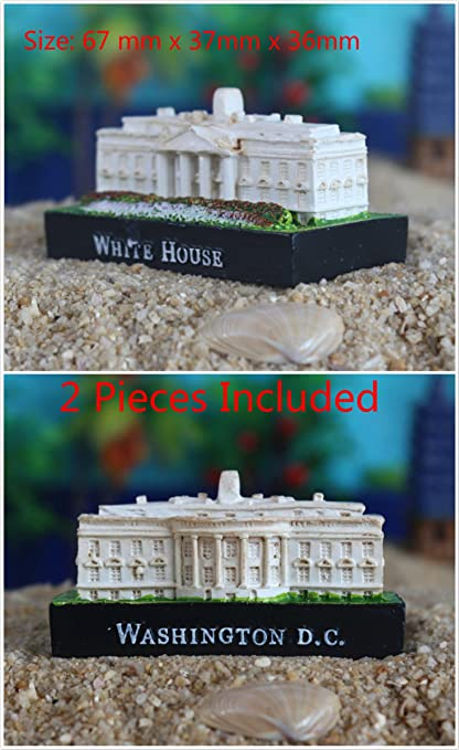 Kimoo 2X Miniature Resin White House Washington DC Statue Sculpture Aquarium Bookshelf Sandy Psychotherapy Ornament Fish