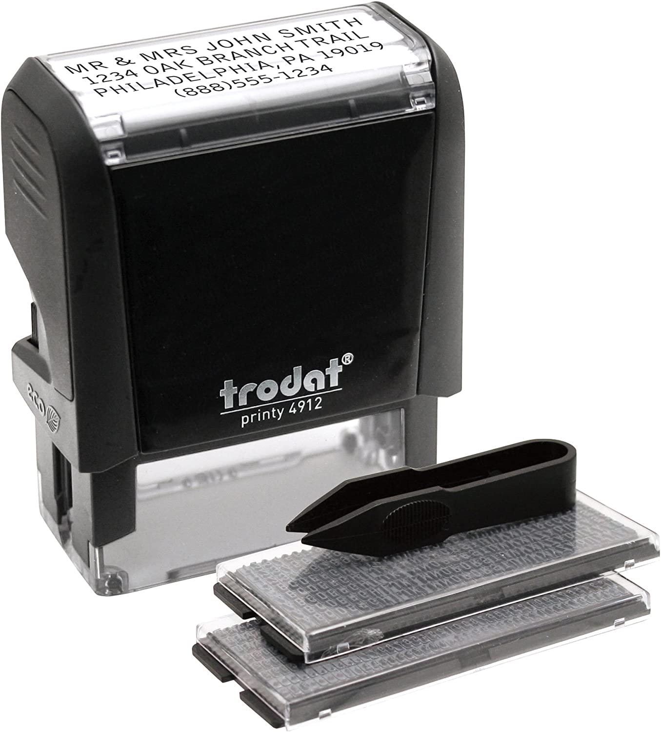Trodat Printy Economy Self-Inking Do It Yourself, Customizable Message or Address Stamp, Impression Size: 3/4 x 1-7/8 Inches, Black (5915)