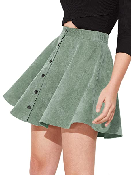 f86dce2b59 SheIn Women's Button Up Flare A-Line Corduroy Skater Cord Short Skirt Green  at Amazon Women's Clothing store:
