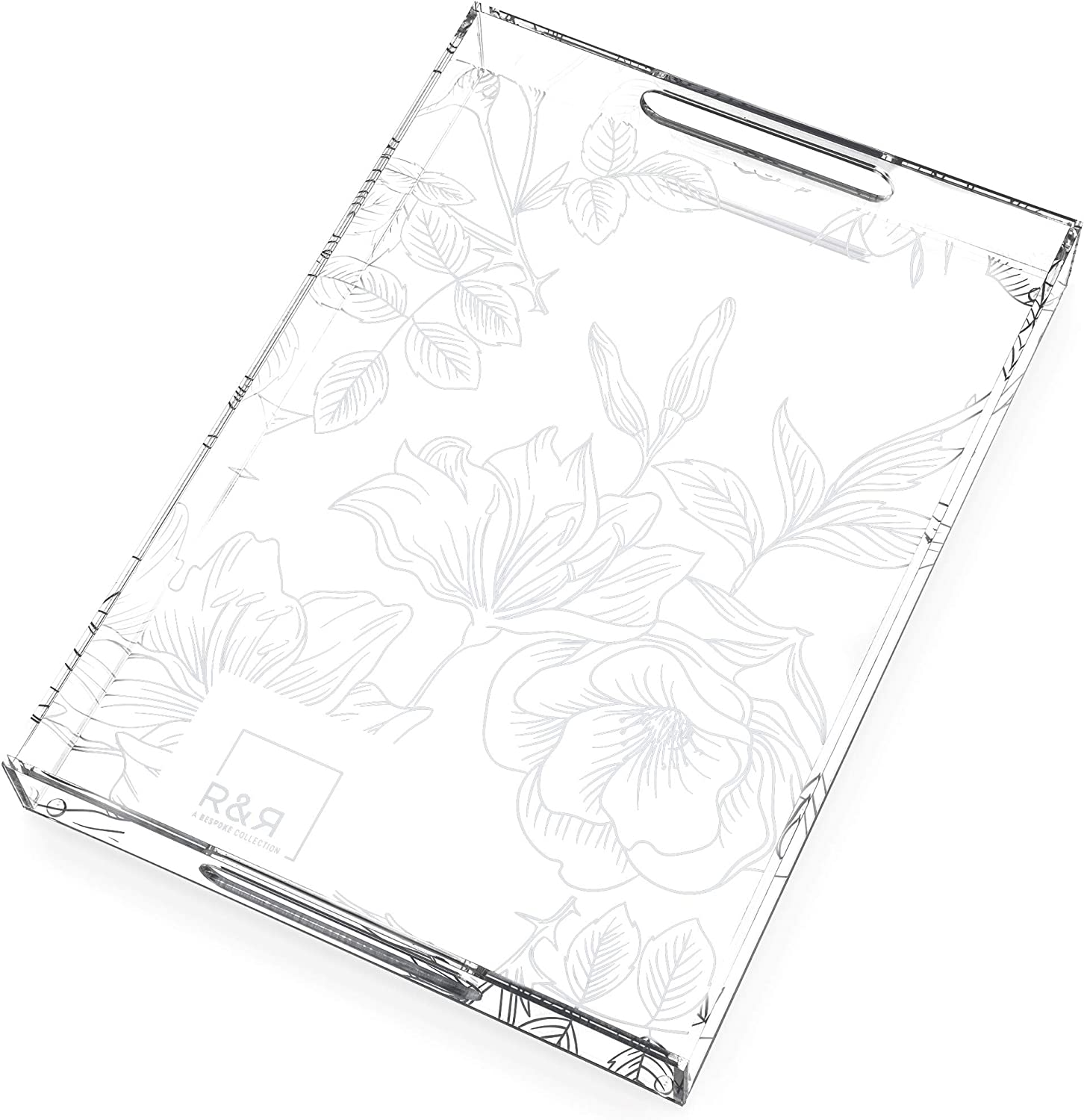 R&R Clear Acrylic Tray with Handles - 17