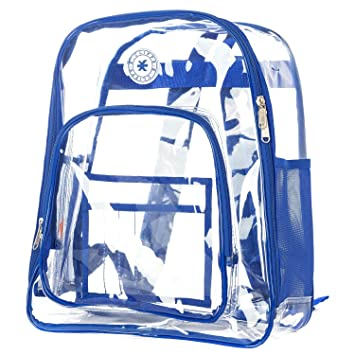 967a8319796f Amazon.com  K-Cliffs Heavy Duty Clear Backpack See Through Student  Transparent School Bookbag Royal By Praise Start  All Fine