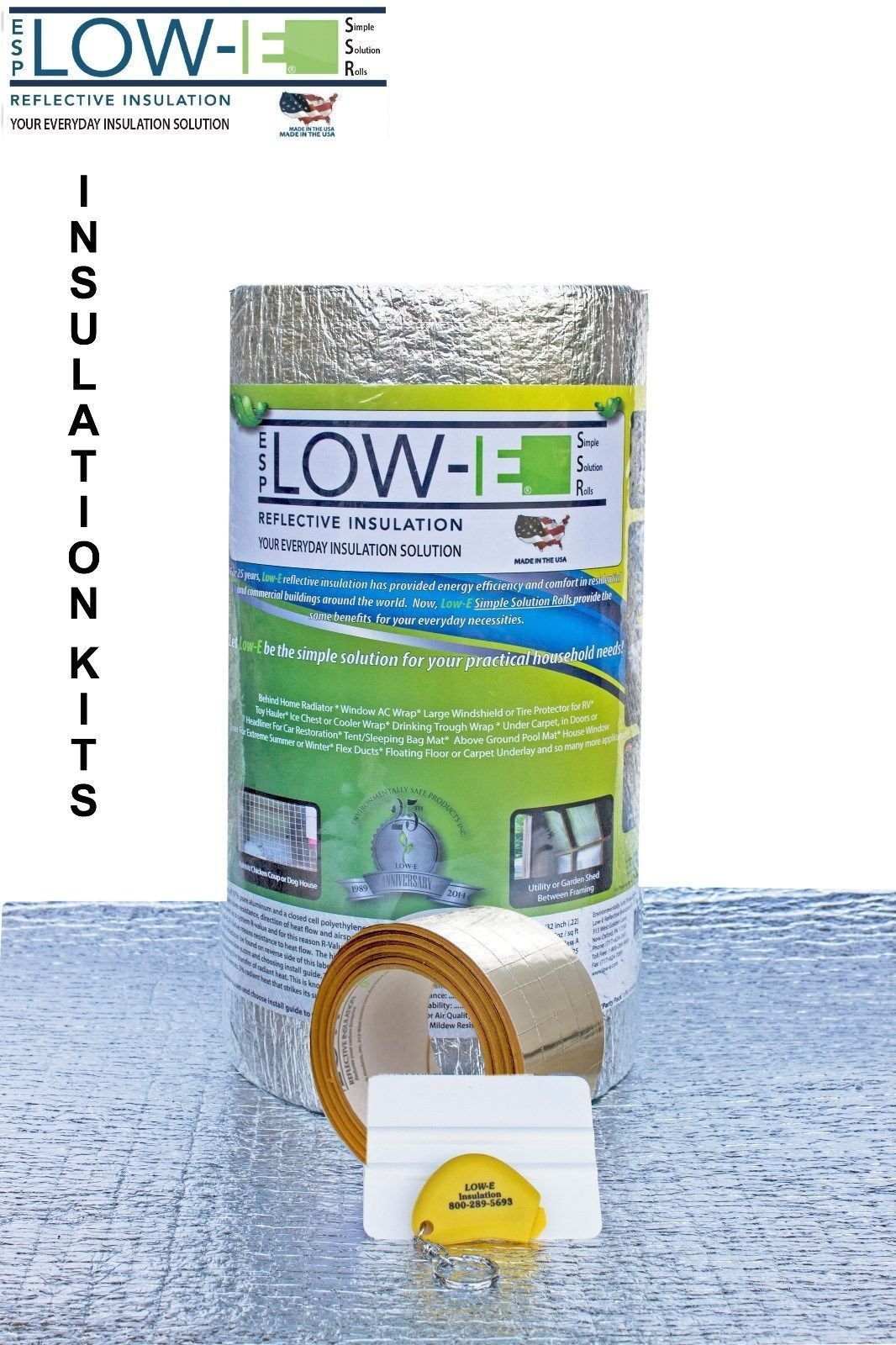 ESP Low-E SSR Reflective Foam Core Insulation weatherization Kit Roll 16''x25'